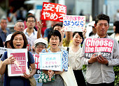 Anti security legislation law protesters march on during a rally on September 20 2015 in Nagoya Aichi Japan Despite failing to prevent the Diet's...