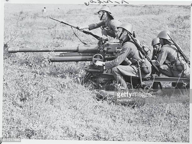 Anti Tank Gun of the Netherlands East Indies Army Going into Action