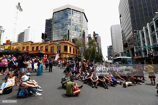 Anti TPP protests block intersections outside the Sky City Convention Centre during the signing of the document on February 4 2016 in Auckland New...