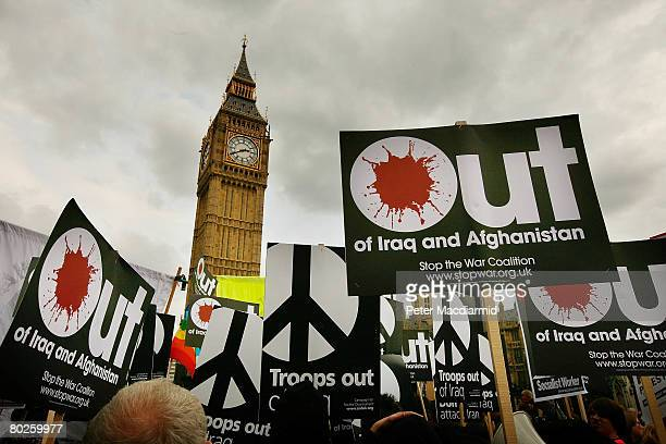Anti war protestors march on March 15 2008 in central London England A worldwide day of protest against the wars in Iraq and Afghanistan is being...