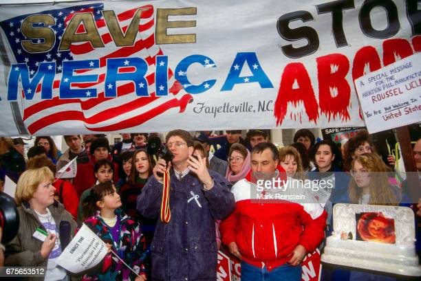 Antiabortion activist Randall Terry founder of the fundamentalist Christian group Operation Rescue speaks to demonstrators during the annual March...