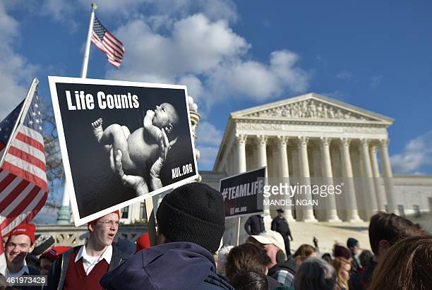 Antiabortion activists take part in the annual March for Life infront of the US Supreme Court on January 22 2015 in Washington DC AFP PHOTO/MANDEL...