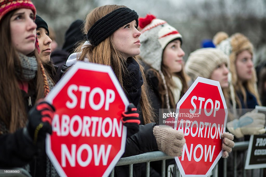 Anti-abortion protesters attend the March for Life on January 25, 2013 in Washington, DC. The pro-life gathering is held each year around the anniversary of the Roe v. Wade Supreme Court decision.