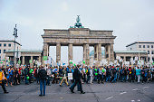 Antiabortion protesters pass Brandenburg Gate during their 'March for Life' on September 20 2014 in Berlin Germany