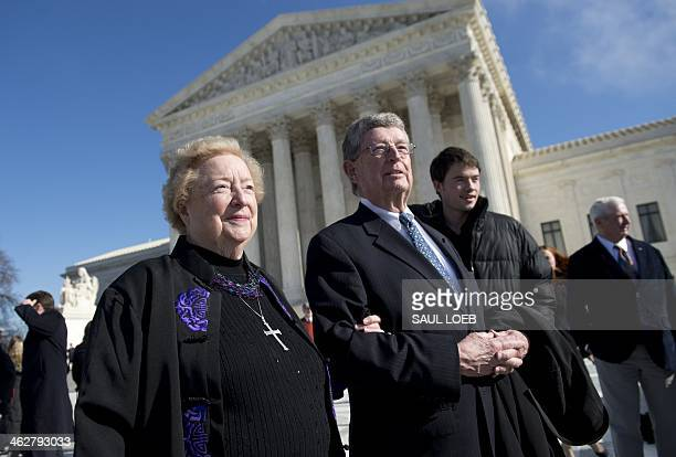 Antiabortion protestor Eleanor McCullen of Newton Massachusetts and her attorney Philip Moran stand outside the US Supreme Court following oral...