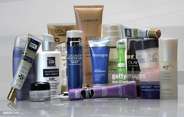 Anti–aging skin care products for a drugstore beauty challenge focused on skin care lotions creams cleansers and serums on December 21 2009