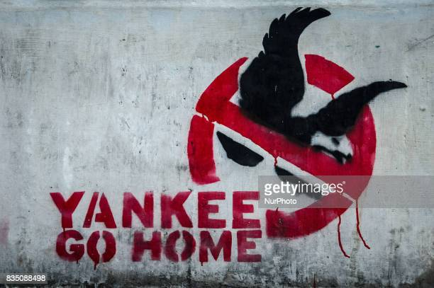 AntiAmerican graffiti in the streets of Caracas Venezuela where the government has long blamed the USA for political and economic crises in the...