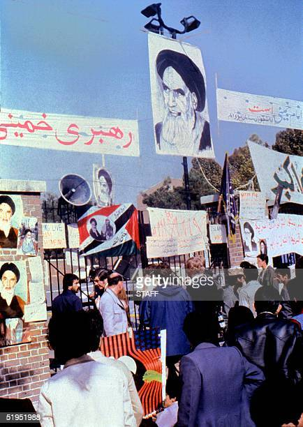 AntiAmerican posters fasted on the wall of the US Embassy compound17 November 1979 The fanatical followers of the Ayatollah Khomeini stormed the...