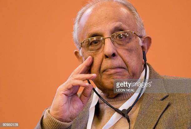 AntiApartheid activist Ahmed Kathrada listens to a speech at the 10th World Summit of Nobel Peace Laureates at the Rotes Rathaus in Berlin on...