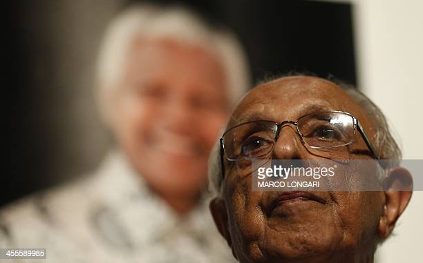 Antiapartheid activist and close friend of former South African President Nelson Mandela Ahmed Kathrada talks during a tribute to Mandela at Gandhi...