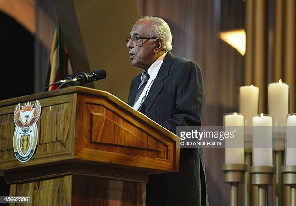 Antiapartheid activist and close friend of Nelson Mandela Ahmed Kathrada gives a speech during the funeral ceremony of South African former president...