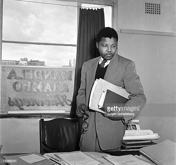 Antiapartheid activist and lawyer Nelson Mandela in the office of Mandela and Tambo a law practice set up in Johannesburg by Mandela and Oliver Tambo...