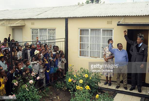 Antiapartheid activist Nelson Mandela returns to Soweto four days after his release from Victor Verster Prison in Paarl South Africa after 27 years...