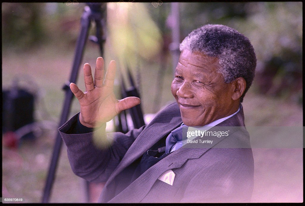 Antiapartheid activist Nelson Mandela shortly after his release from a South African prison in 1990