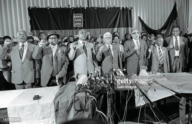 Antiapartheid ANC struggle stalwarts Raymond Mhlaba Oscar Mpetha Andrew Mlangeni Walter Sisulu Ahmed Kathrada Elias Motsoaledi and Wilton Mkwayi...