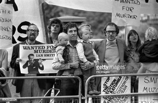 AntiApartheid campaigner Peter Hain with his sons Sam and Jake join the demonstrators awaiting the arrival of Ian Smith at his London hotel * Plans...
