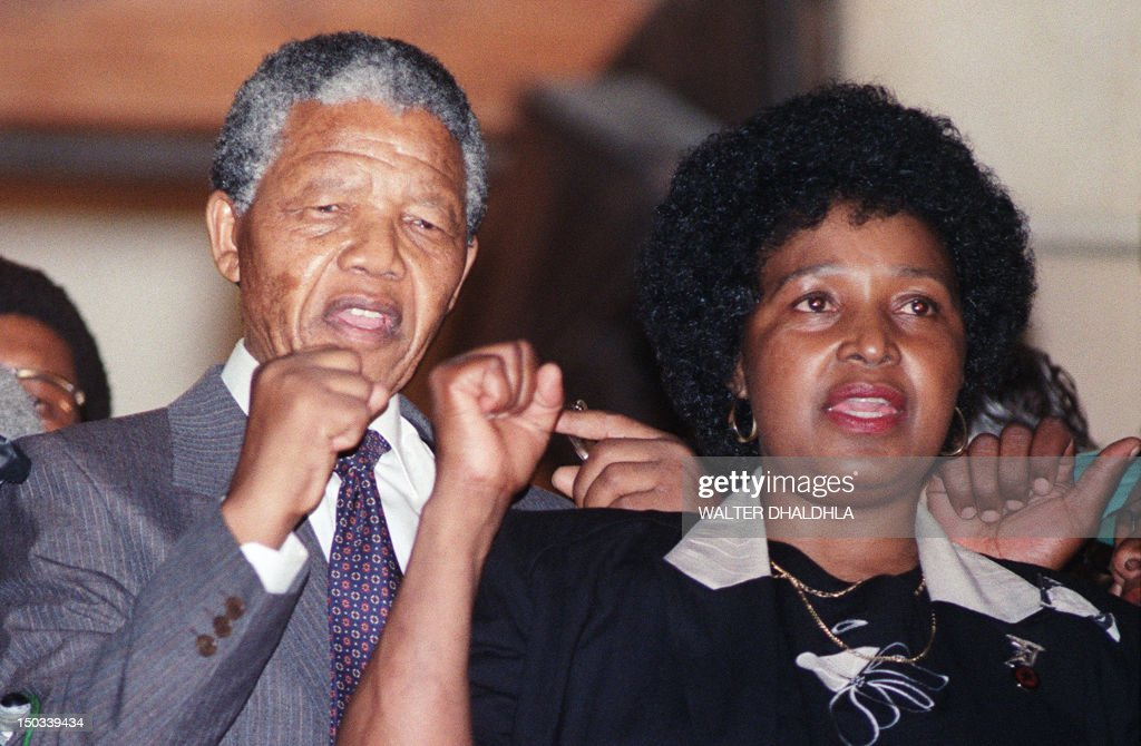 Antiapartheid leader and African National Congress member Nelson Mandela and wife Winnie raise fists upon Mandela release from Victor Verster prison...