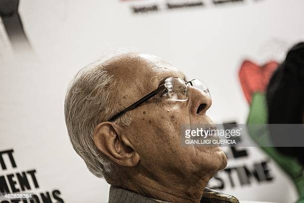 Antiapartheid struggle stalwart Ahmed Kathrada looks on as Palestinian Liberation Front veteran Leila Khaled speaks during a press conference on...