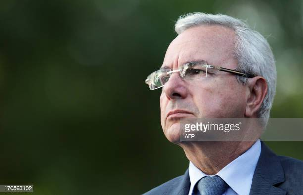 Antibes' mayor and former minister Jean Leonetti looks on during a meeting in support of Former French prime minister François Fillon on June 2013 in...