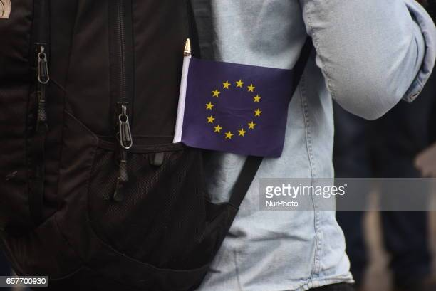 AntiBrexit supporters take part in the Unite for Europe march on March 25 2017 in London United Kingdom The British people voted to leave the...