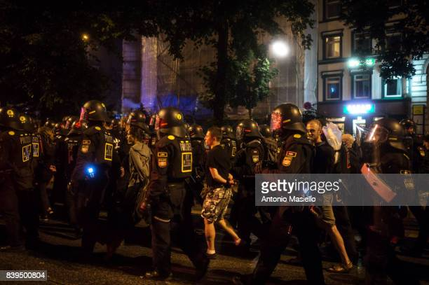 Anticapitalist demonstrators arrested by German police after a nigth of riots on July 8 2017 in Hamburg Germany German police and protesters clashed...