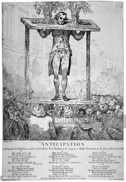 'Anticipation ' 1784 Christopher Atkinson in the pillory between two sheaves of corn outside the Corn Exchange Mark Lane London He was at the time...