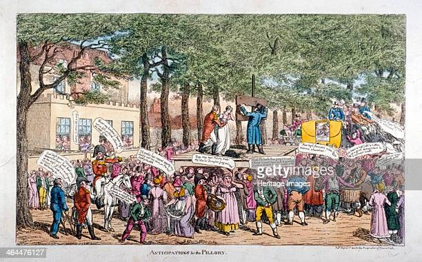 'Anticipations for the Pillory' 1813 A pillory stands on a scaffold in Chesterfield Walk outside Montague House Blackheath residence of the Princess...