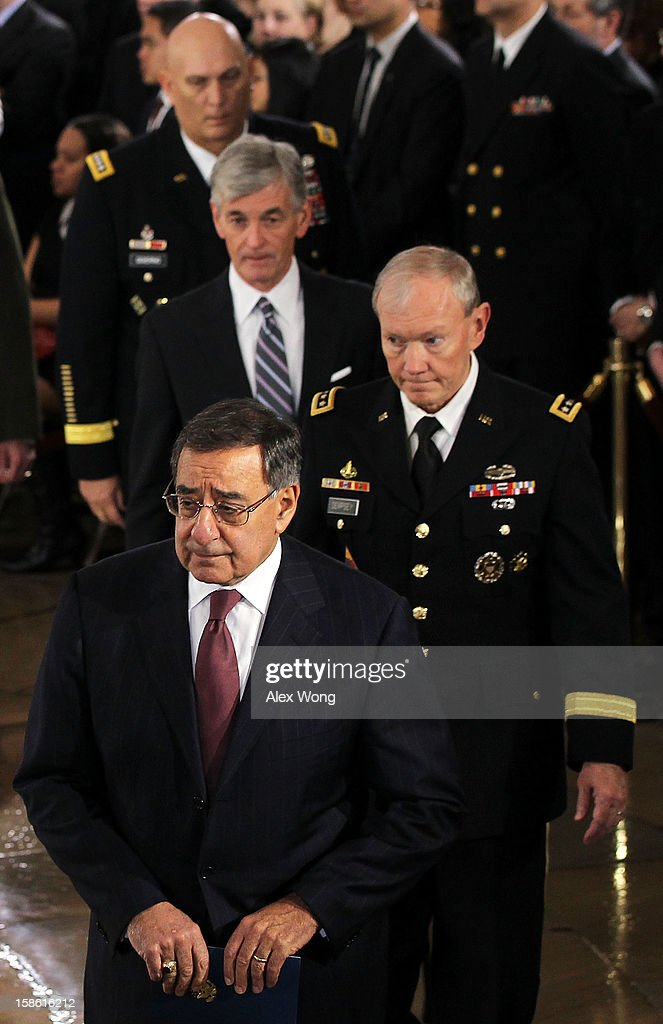 Anticlockwise from bottom, U.S. Secretary of Defense Leon Panetta, Chairman of the Joint Chiefs of Staff Gen. Martin Dempsey, Army Secretary John McHugh, and Army Chief of Staff Gen. Raymond T. Odierno wait in-line to bid farewell to Senator Daniel Inouye (D-HI) who lies in state in the Rotunda of the U.S. Capitol during a service December 20, 2012 on Capitol Hill in Washington, DC. A public funeral service will be held at the Washington National Cathedral on Friday for Senator Inouye, a World War II veteran and the second-longest serving senator in history, who died at the age of 88 on Monday at Walter Reed National Military Medical Center in Bethesda, Maryland where he had been hospitalized since early December. His remains will be returned and laid to rest in his home state.