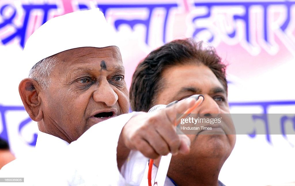 Anti-corruption activist Anna Hazare addressing a gathering during Jantantra Yatra from Ram Leela Ground on April 4, 2013 in Patiala, India.