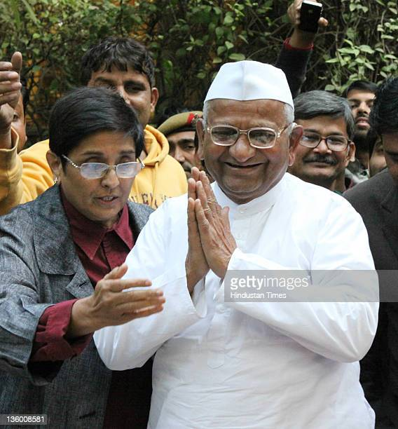 Anticorruption activist Anna Hazare and his team during a Press Conference on December 15 2011 in New Delhi India He declared that if the government...
