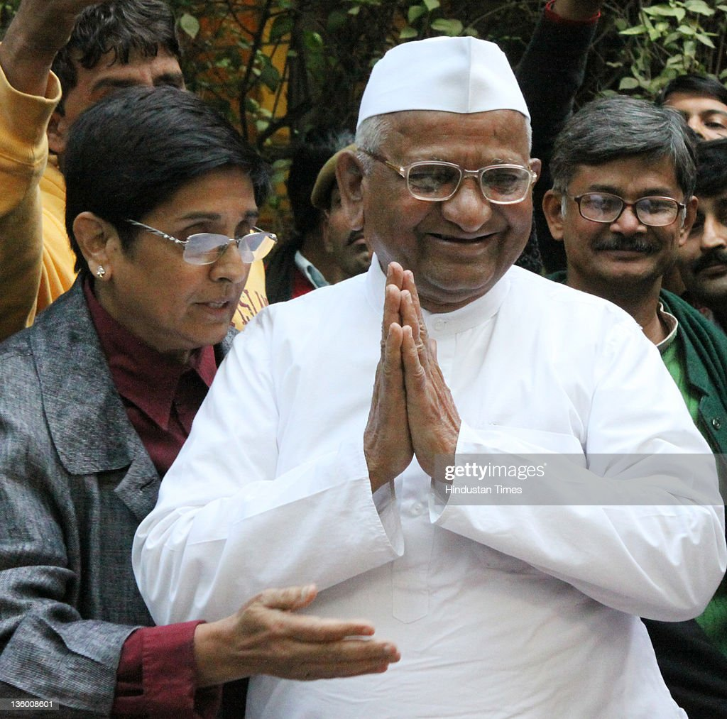 Anti-corruption activist <a gi-track='captionPersonalityLinkClicked' href=/galleries/search?phrase=Anna+Hazare&family=editorial&specificpeople=5963003 ng-click='$event.stopPropagation()'>Anna Hazare</a> and his team during a Press Conference on December 15, 2011 in New Delhi, India. He declared that if the government does not pass the Lokpal bill in the ongoing winter session then he will go on hunger strike again from December 27, 2011.