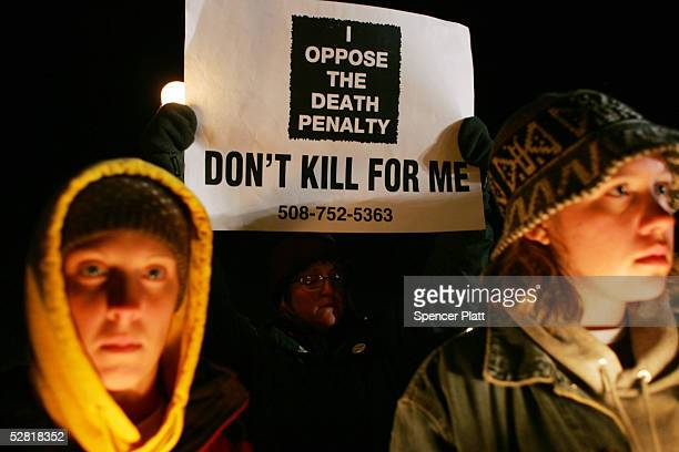 Antideath penalty protesters keep vigil outside of the Osborn Correctional Institution after the execution of convicted murderer Michael Ross May 13...