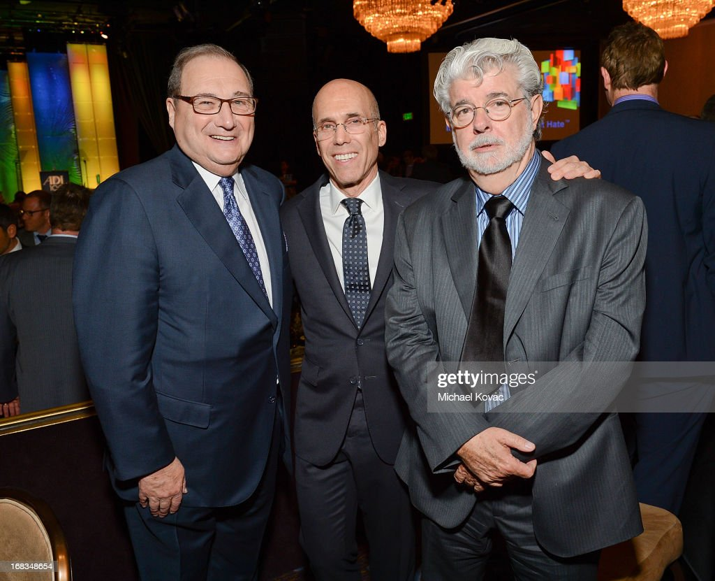 Anti-Defamation League National Director Abraham Foxman, DreamWorks Animation CEO <a gi-track='captionPersonalityLinkClicked' href=/galleries/search?phrase=Jeffrey+Katzenberg&family=editorial&specificpeople=171496 ng-click='$event.stopPropagation()'>Jeffrey Katzenberg</a>, and producer/director <a gi-track='captionPersonalityLinkClicked' href=/galleries/search?phrase=George+Lucas&family=editorial&specificpeople=202500 ng-click='$event.stopPropagation()'>George Lucas</a> attend the Anti-Defamation League Centennial Entertainment Industry Awards Dinner Honoring <a gi-track='captionPersonalityLinkClicked' href=/galleries/search?phrase=Jeffrey+Katzenberg&family=editorial&specificpeople=171496 ng-click='$event.stopPropagation()'>Jeffrey Katzenberg</a> at The Beverly Hilton Hotel on May 8, 2013 in Beverly Hills, California.