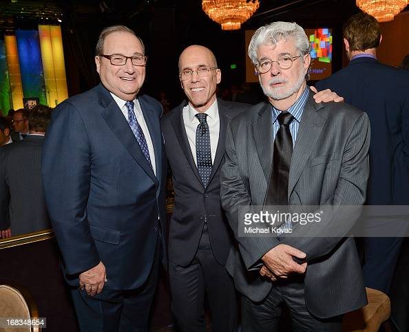 AntiDefamation League National Director Abraham Foxman DreamWorks Animation CEO Jeffrey Katzenberg and producer/director George Lucas attend the...
