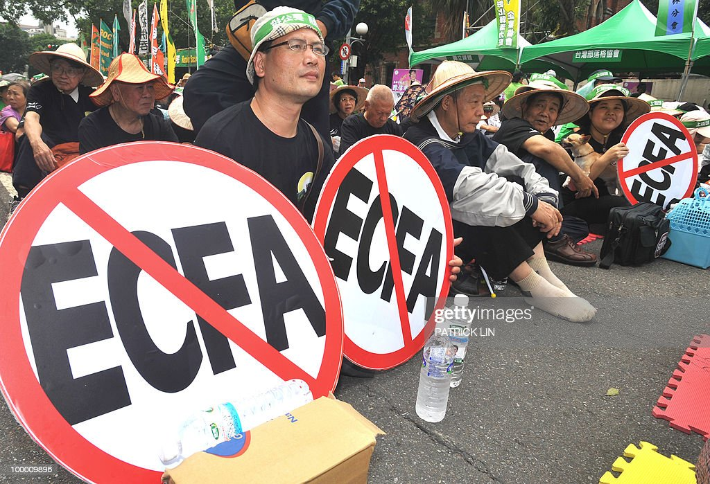 'Anti-ECFA' signs are displayed during a sit-in protest in Taipei on May 20, 2010. Hundreds of supporters of Taiwan's major pro-independence opposition rallied in the capital city as part of the party's efforts to stop the government from forging a trade pact with China. ECFA stands for Economic Cooperation Framework Agreement, a contentious trade pact Taiwanese government plans to sign to sign with China.
