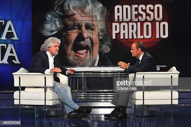 Antiestablishment 5Star Movement party leader Beppe Grillo attends the 'Porta a Porta' TV show with Italian journalist Bruno Vespa at the Rai 1...