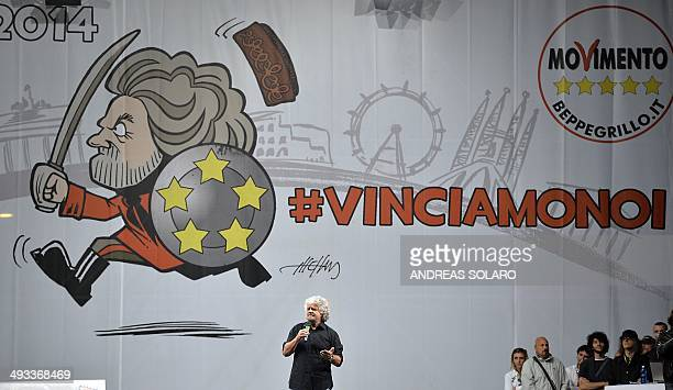 Antiestablishment 5Star Movement party leader Beppe Grillo gives a speech on May 23 2014 in Rome's Piazza San Giovanni as he holds a rally to support...