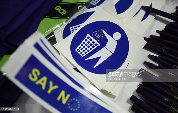 AntiEU stickers are displayed for sale to delegates attending the UKIP Spring Conference in Llandudno north Wales on February 27 2016 / AFP / OLI...