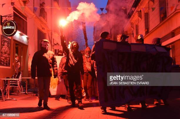 TOPSHOT Antifascists demonstrate in Nantes western France on April 23 2017 following the announcement of the results of the first round of the...