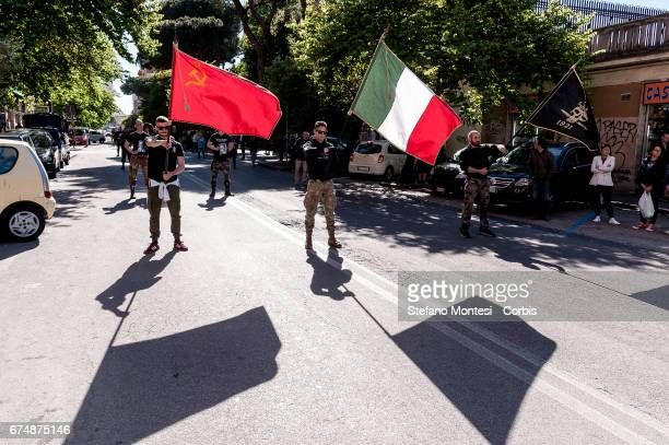 Antifascists take part in a parade in remembrance of the struggle for liberation from Nazifascism on April 29 2017 in Rome Italy Those taking part...