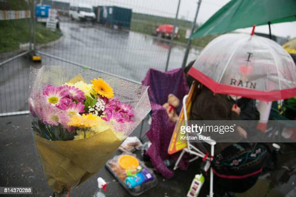 Antifracking activists try to block the entrance to Quadrilla's drill site in New Preston Road July 04 2017 Lancashire United Kingdom The blockade is...