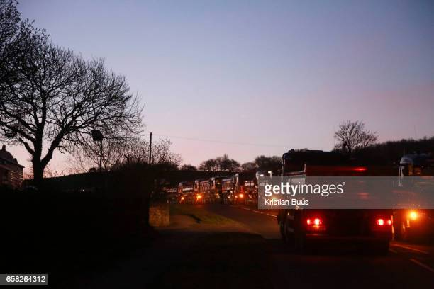 Antifracking climate activists from Reclaim the Power blocking a gate to Leapers Wood quarry March 27th 2017 near Lancaster United Kingdom The quarry...