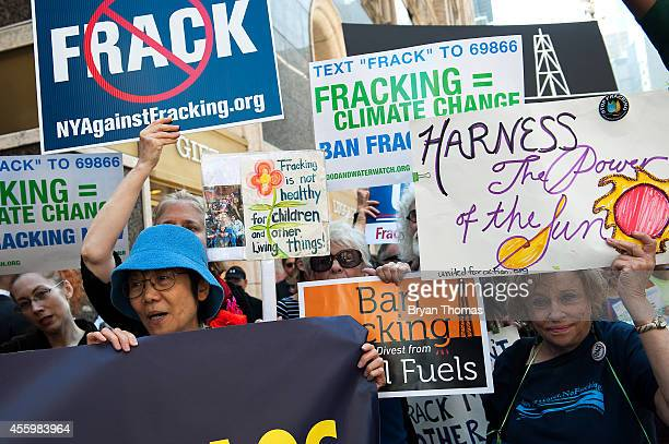 Antifracking demonstrators protest on 51st Street and 7th Avenue as President Obama arrives at the Sheraton Hotel at 52nd Street on September 23 2014...