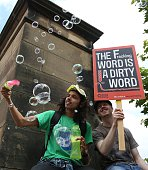 AntiFracking protesters demonstrate outside Lancashire County Hall in Preston northwest England on June 23 2015 Lancashire County Council are voting...