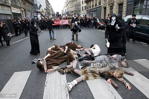 Antifur demonstration In Paris France On October 23 2010Antifur Protestors show their signs as they demonstrate against the fashion industry for...