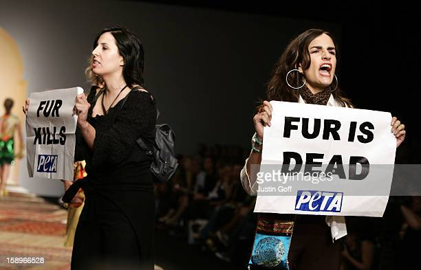 AntiFur Protesters At The Julien Macdonald Show During London Fashion Week