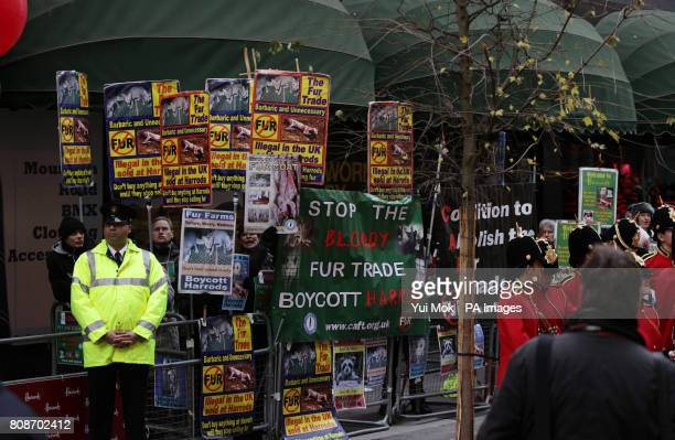 Antifur protesters during the opening of the Harrods Winter Sale in Knightsbridge west London