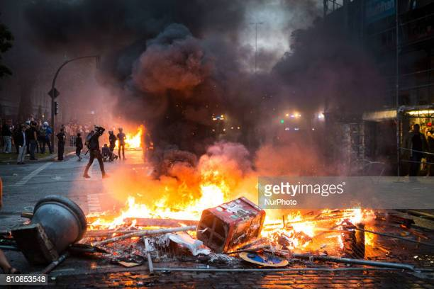 AntiG20 Summit protesters during clashes with riot police on July 7 2017 in Hamburg Germany Authorities are braced for largescale and disruptive...