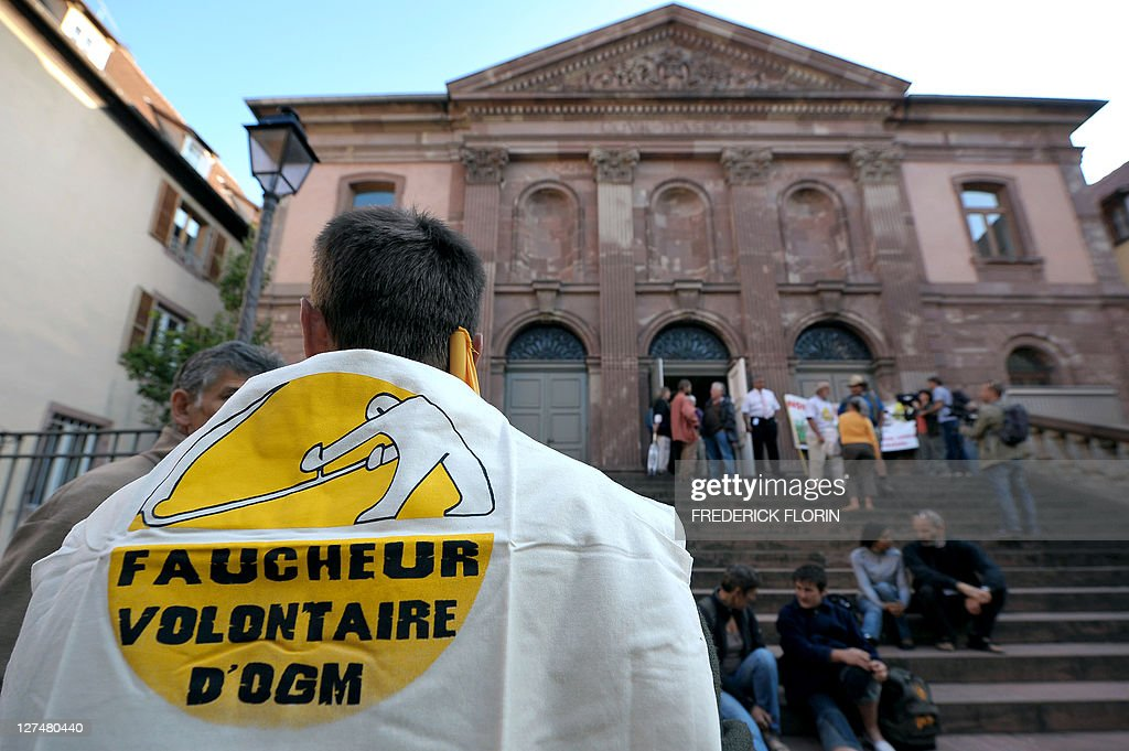 Anti-Genetically Modified Organisms (GMO) demonstrators protest in front of Colmar courthouse on September 28, 2011, eastern France, during the trial of 60 militants accused of destroying MGO plants.