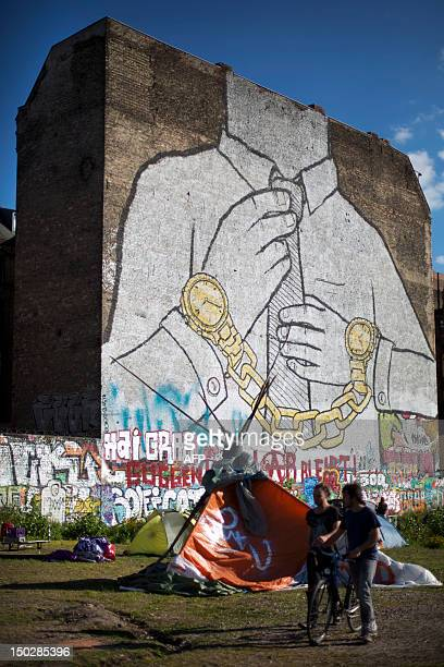 Antigentrification activists have set up a makeshift campsite on an empty lot to protest against its development in Berlin's Kreuzberg district on...